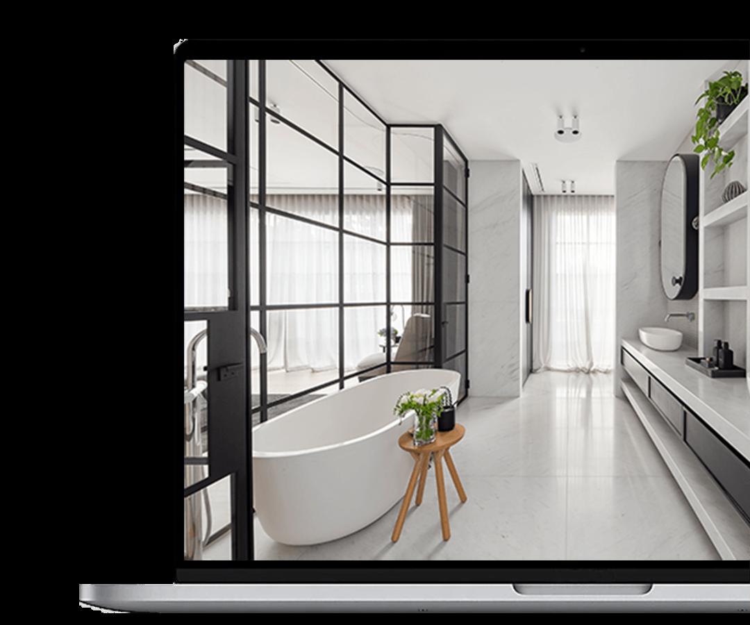 Laptop mit Badezimmer